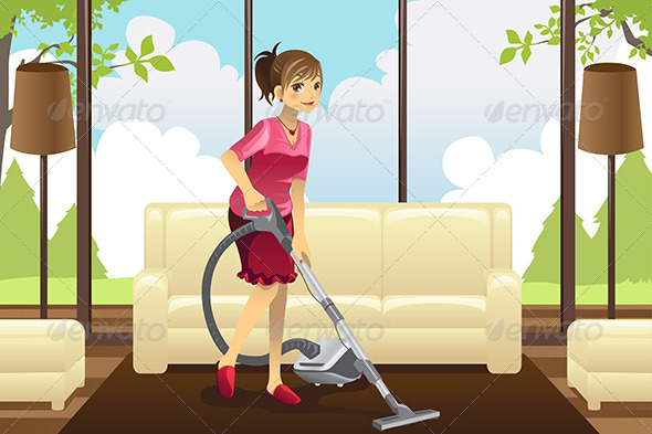 GraphicRiver Housewife Vacuuming Carpet 6054699