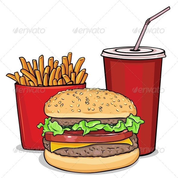 GraphicRiver Cartoon Fast Food Combo Hamburger French 6054851
