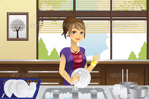 GraphicRiver Housewife Washing Dishes 6054886