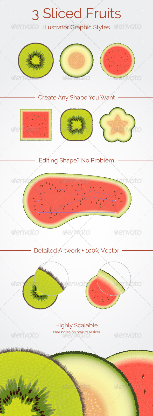 GraphicRiver 3 Sliced Fruits Graphic Styles 6054890