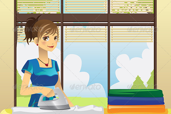 GraphicRiver Housewife Ironing Clothes 6054891