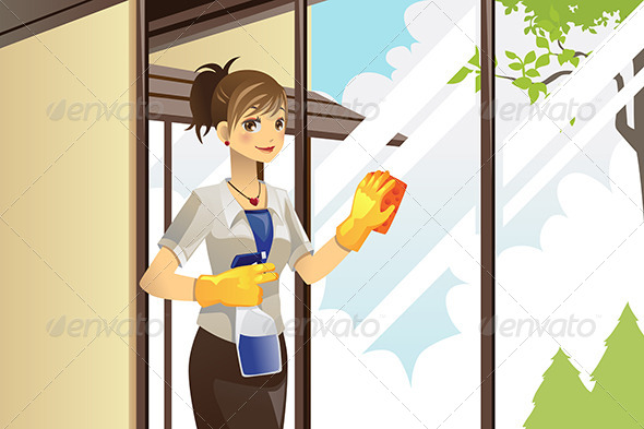 GraphicRiver Housewife Cleaning Windows 6054905