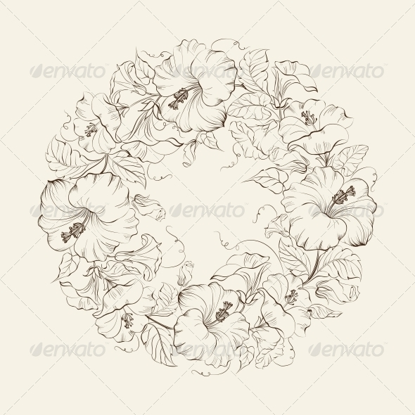 GraphicRiver Hibiscuses Wreath Background 6055016