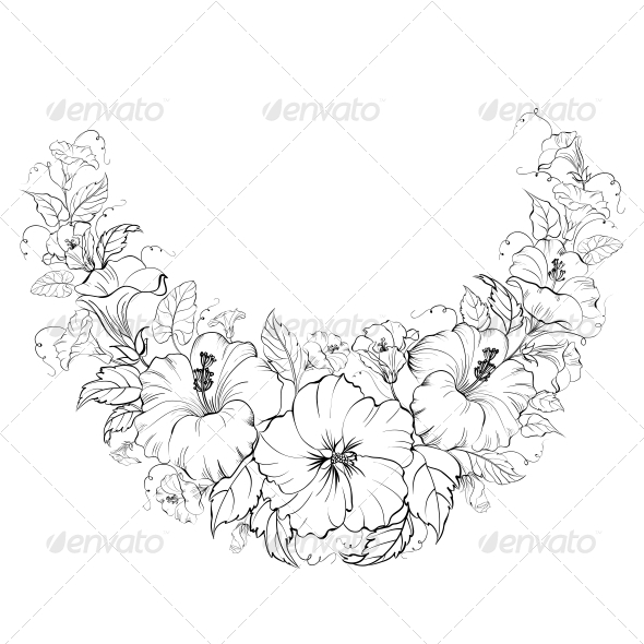 GraphicRiver Hibiscus Wreath Background 6055174