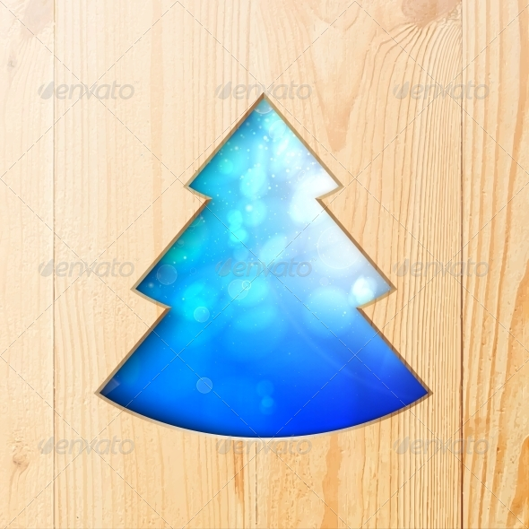 GraphicRiver Christmas Tree Carved from Wood 6055217