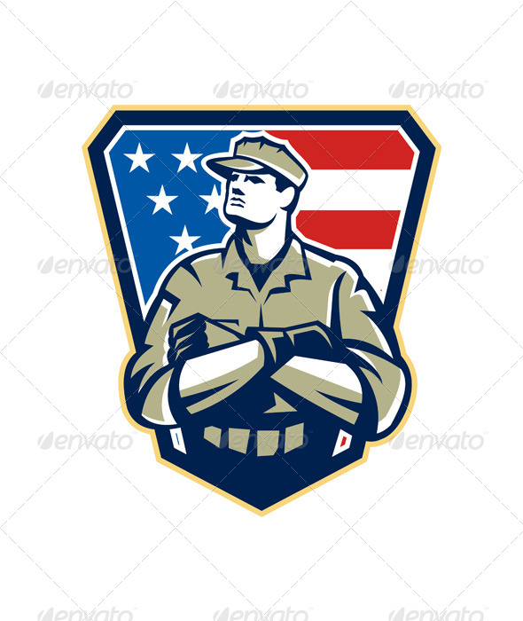 GraphicRiver American Soldier Arms Folded Flag Retro 6055462