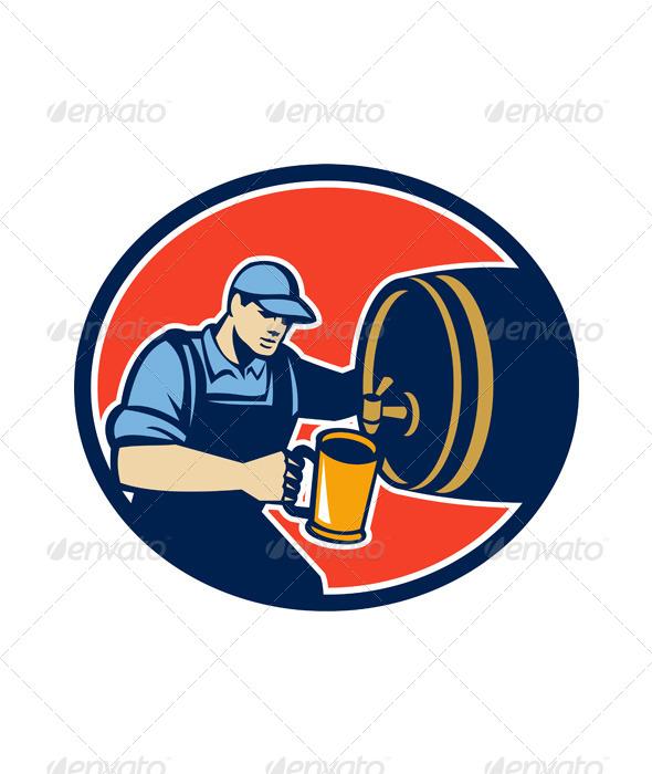 Brewer Bartender Pour Beer Pitcher Barrel Retro