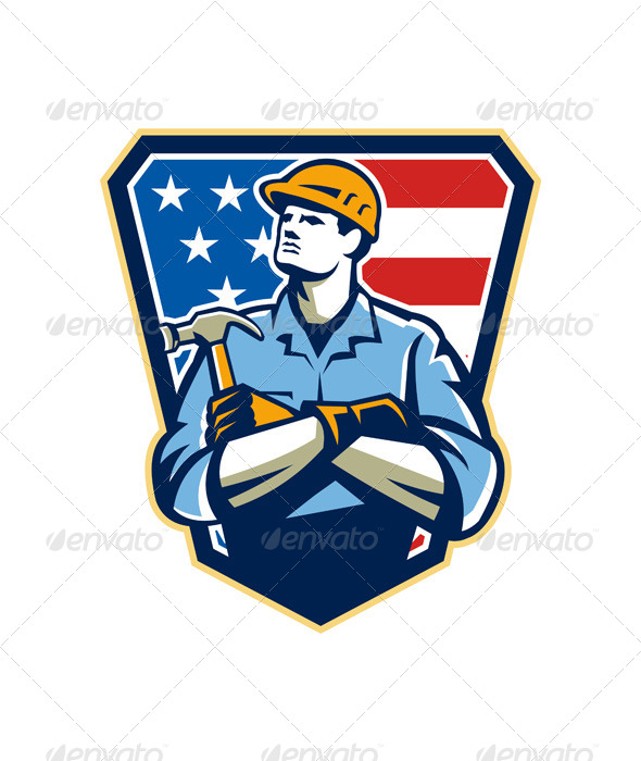 GraphicRiver American Builder Carpenter Hammer Crest Retro 6055488