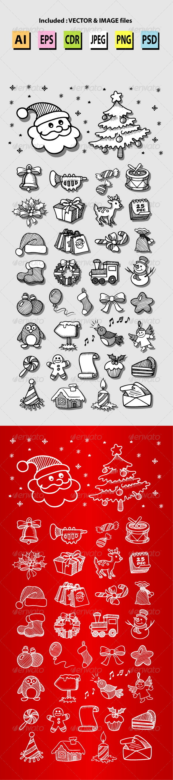 Set of Christmas Icon Sketches - Christmas Seasons/Holidays