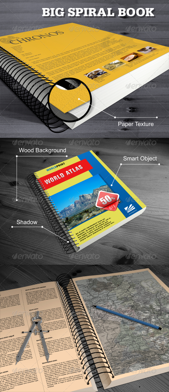 GraphicRiver Big Spiral Book Mock-Up 6056185
