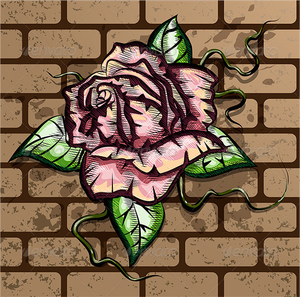 GraphicRiver Rose on the Wall 6056371