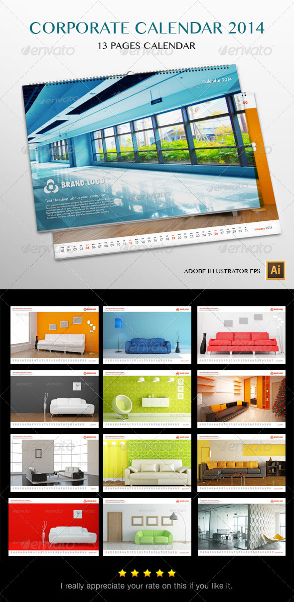 GraphicRiver Corporate Wall Calendar 2014 6056390