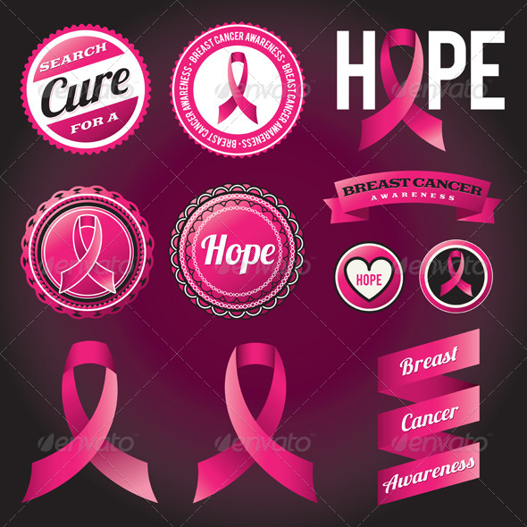 GraphicRiver Breast Cancer Awareness Ribbons and Badges 6056706