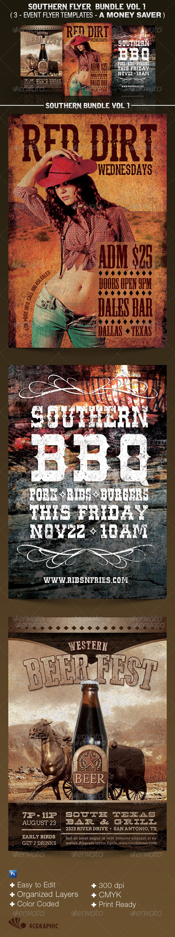 Southern Flyer Templates Bundle Vol 1. - Events Flyers