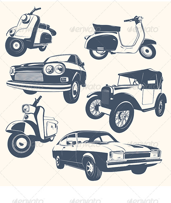GraphicRiver Set of Car & Motorcycle 6056763