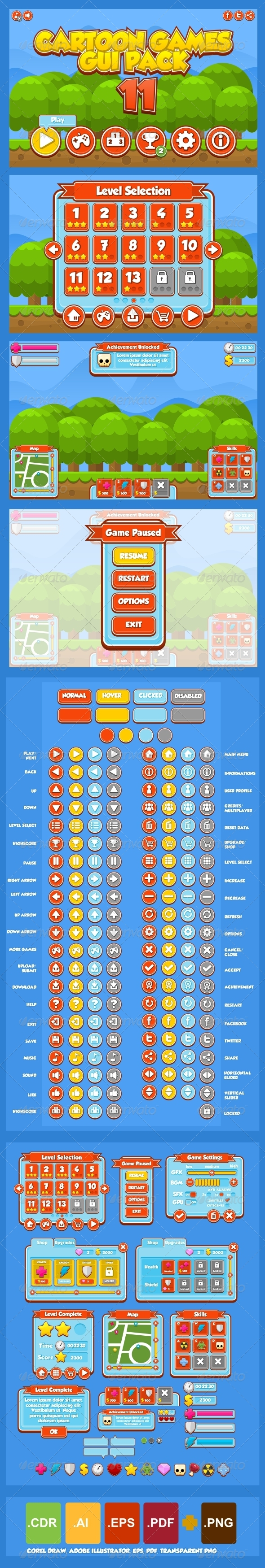 GraphicRiver Cartoon Games GUI Pack 11 6056785