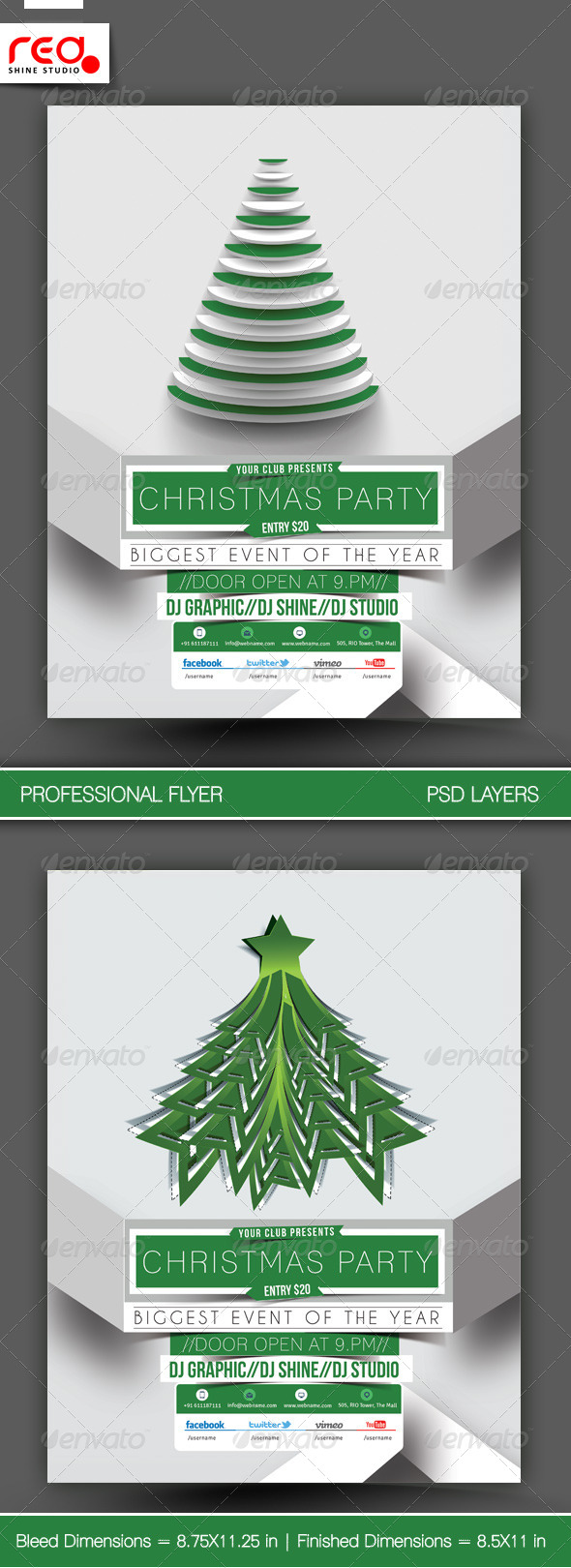 Christmas Party Flyer u0026 Poster Template - 2