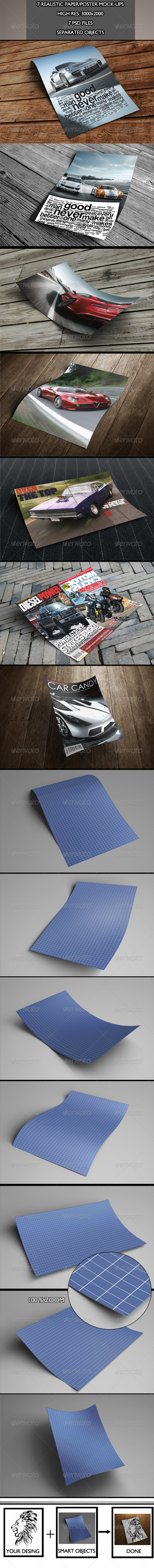 GraphicRiver 7 Realistic Paper Poster Mock-ups Vol.2 6051329