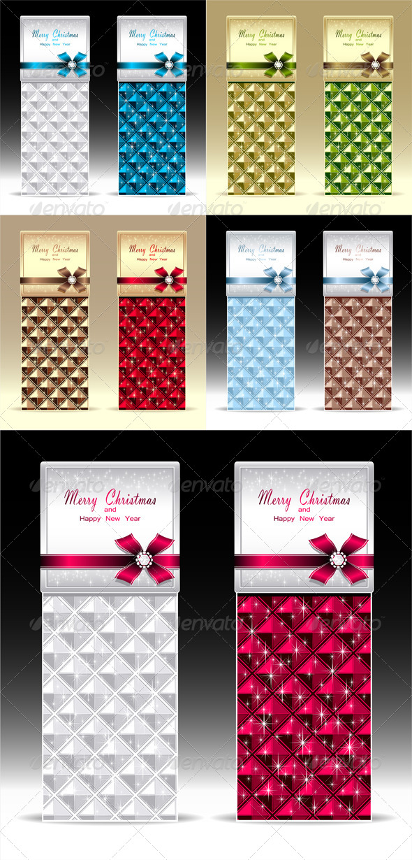 Banners or Gift Card with Bow Geometric Pattern