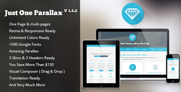 Just One - Responsive Parallax WordPress Theme