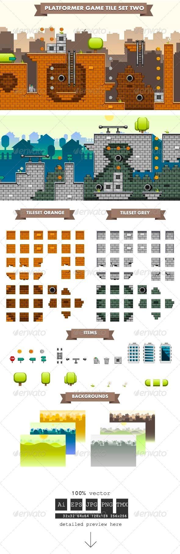 GraphicRiver Platformer Game Tile Set Two 6057247