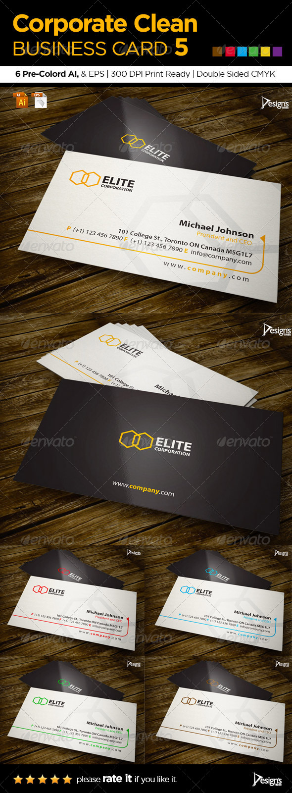 Corporate Clean Business Card 5 - Corporate Business Cards