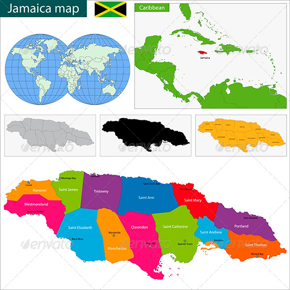 GraphicRiver Jamaica Map 6057381