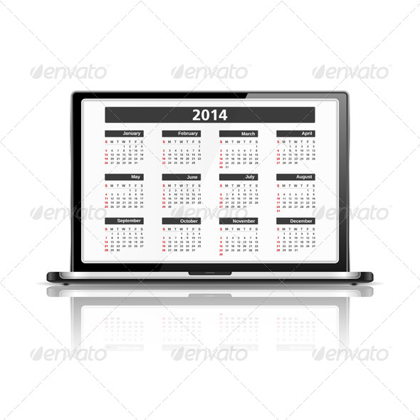 GraphicRiver Calendar 2014 in Laptop 6057758
