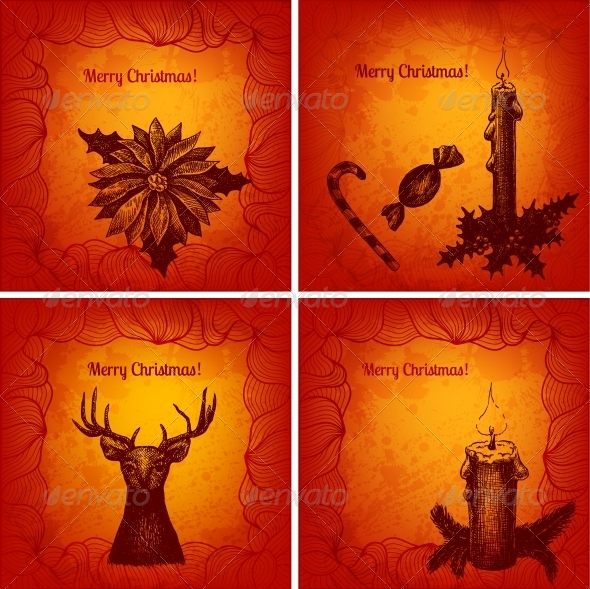 Colorful Merry Christmas Cards