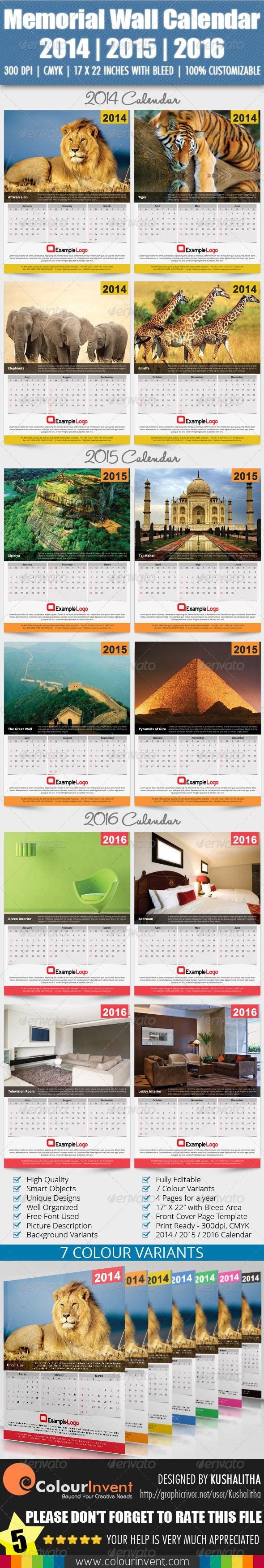 Memorial Wall Calendar 2014 | 2015 | 2016