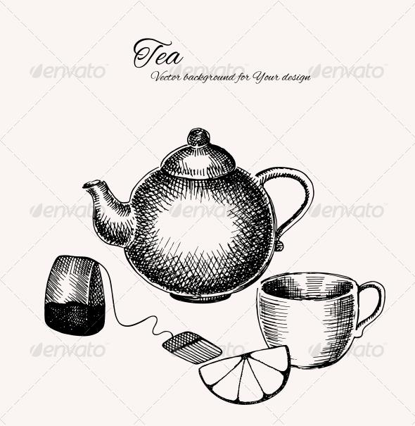 GraphicRiver Black and White Tea Background 6058208