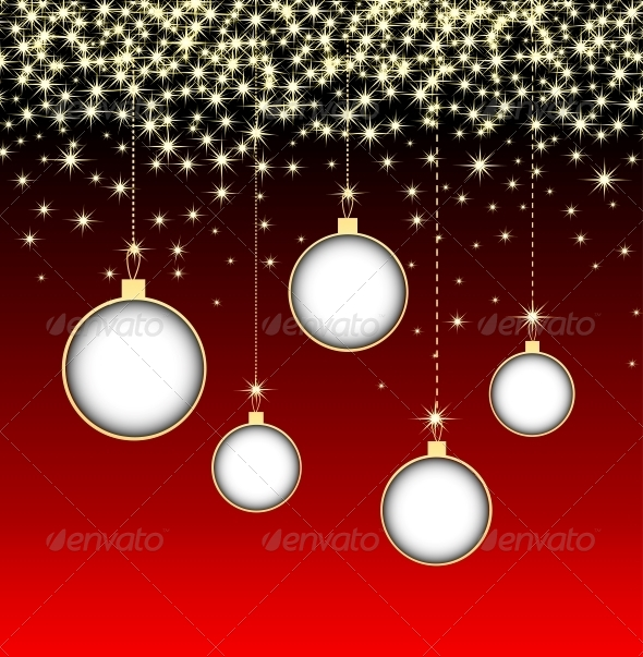 Christmas Ball on Red Background with Snowflakes