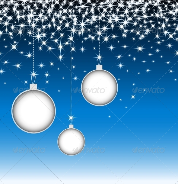 Christmas Balls on Blue Card with Snowflakes