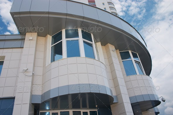 Office of Bank and blue cloudy sky - Stock Photo - Images