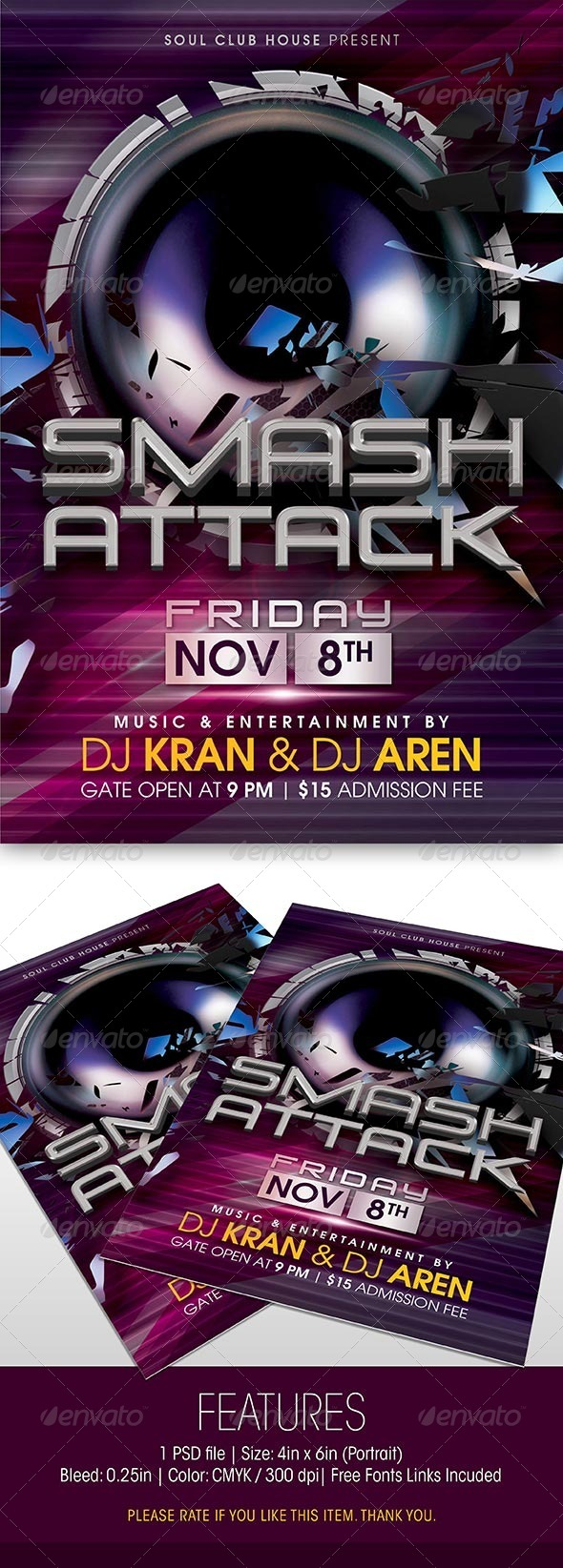 GraphicRiver Smash Attack Party Flyer 6058527