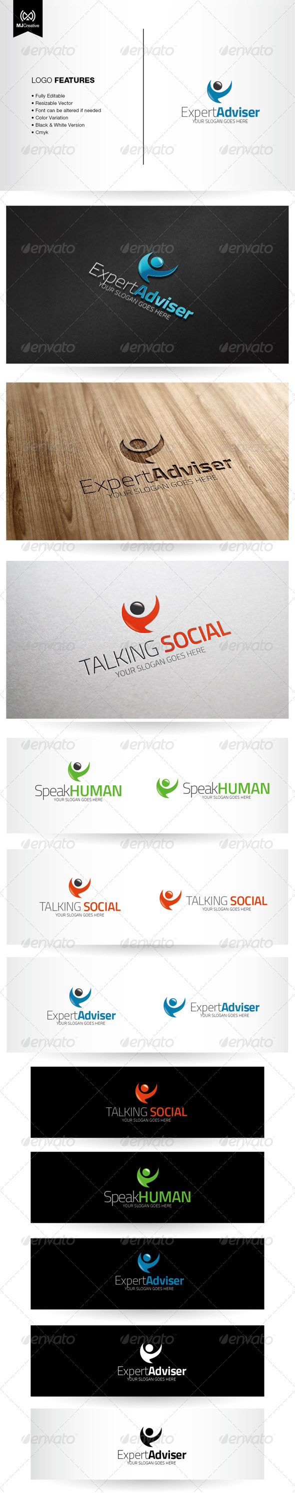 Abstract Human Speech Bubble Logo