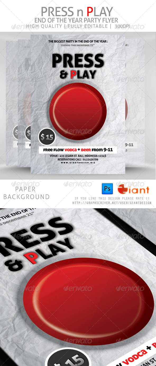 GraphicRiver Press n Play Party Flyer 6060832