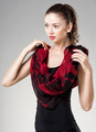 beautiful woman wearing red kashmir scarf isolated on grey - PhotoDune Item for Sale