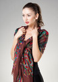 beautiful woman wearing kashmir scarf isolated on grey - PhotoDune Item for Sale