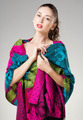 beautiful woman wearing colorful kashmir scarf isolated on grey - PhotoDune Item for Sale