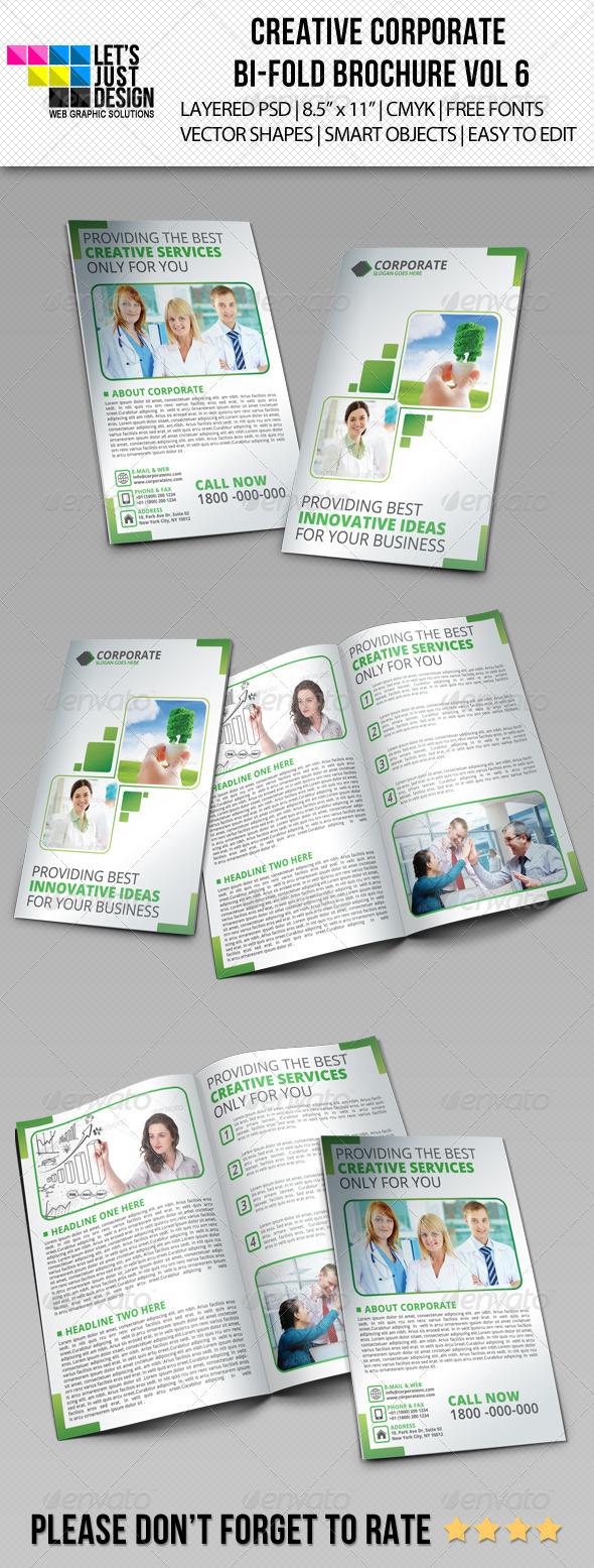 Creative Corporate Bi-Fold Brochure Vol 6 - Brochures Print Templates