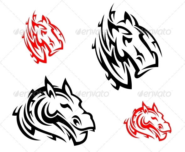 GraphicRiver Tribal Horses Tattoos 6061022