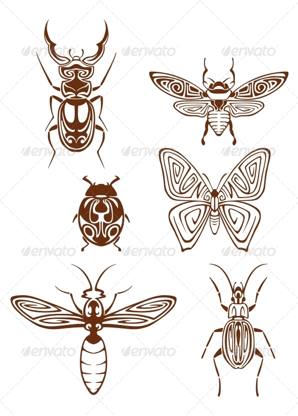GraphicRiver Insects Tattoos in Tribal Style 6061089