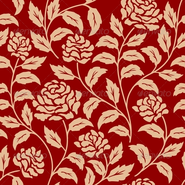 GraphicRiver Red Floral Seamless Pattern 6061489