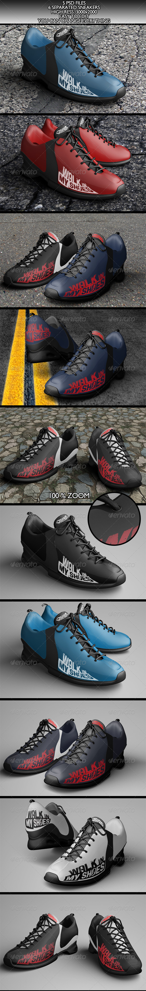 GraphicRiver 6 Realistic Sneakers Mock-Ups Vol.1 6061541