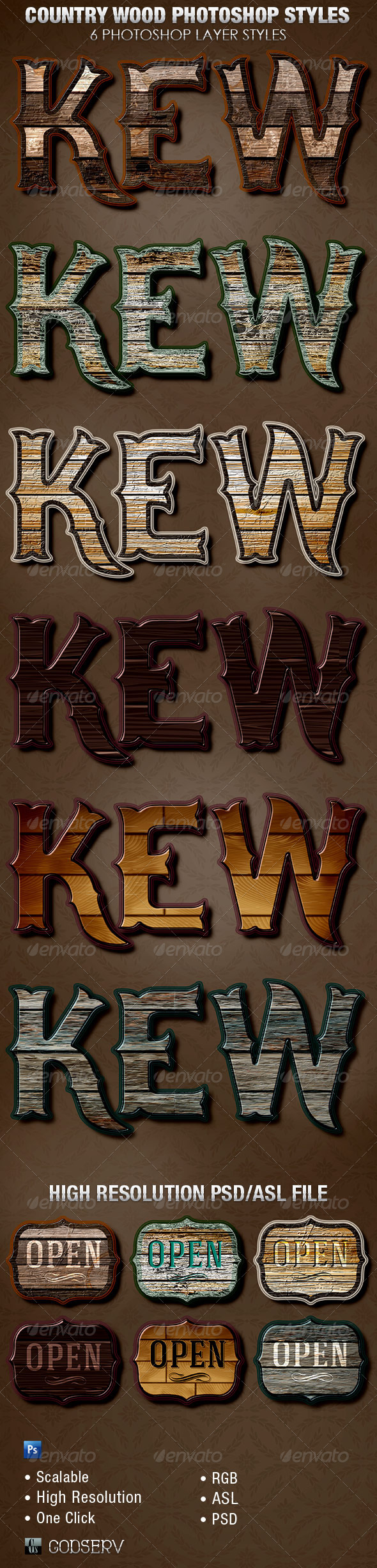 Country Wood Photoshop Layer Styles - Text Effects Styles