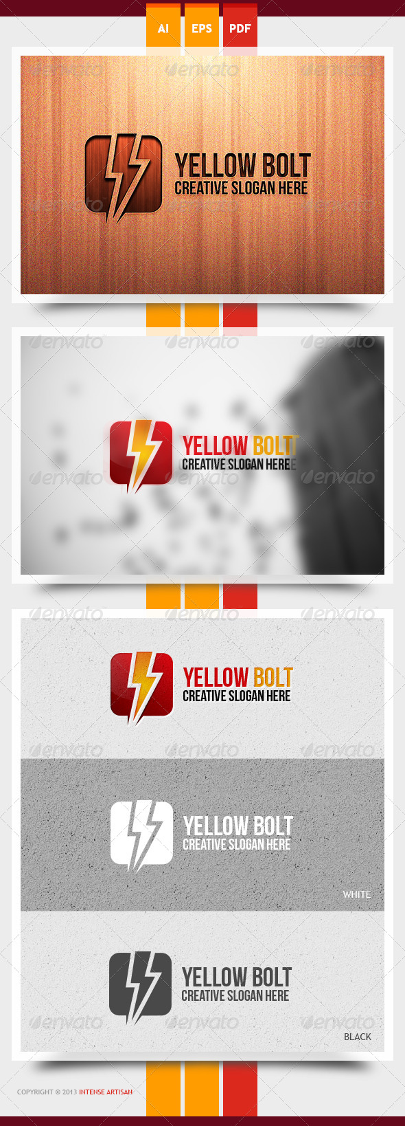 GraphicRiver Yellow Bolt Logo Template 6062569