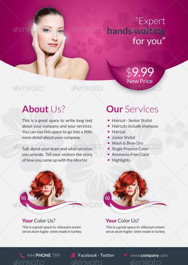 Beauty saloon brochure template by grafilker graphicriver for Beauty brochure templates