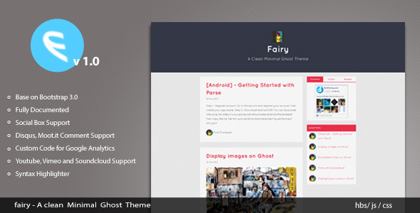 ThemeForest Fairy A Clean Minimal Ghost Theme 6054830