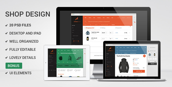 ThemeForest Multipurpose Flat Shop design PSD Template 6048832